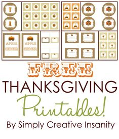 FREE Thanksgiving Party PRINTABLES! Tags, place cards, notes, decor and more! By Simply Creative Insanity via Kara's Party Ideas KarasPartyI...
