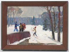 Oil painting by Michail Emelianovich Andreichuk, who was a well-known Soviet-Ukrainian artist. Winter Day, Winter Christmas, Russian Art, Seasonal Decor, Original Art, Christmas Decorations, Oil, Seasons, Illustrations