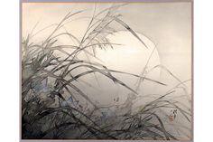 Kagedo Japanese Art Matsubayashi Keigetsu, Painting of Autumn Moon & Grasses - Kagedo Japanese Art