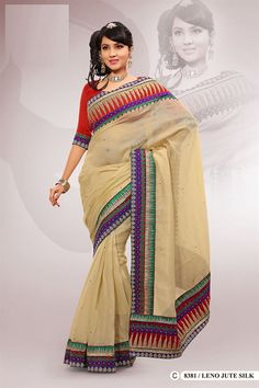 Beige Polyester Embroidered Saree With Blouse