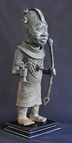 Exceptionnel Grand Bronze DU Benin 62 CM ART DE Cour OBA IFE Cire Perdue