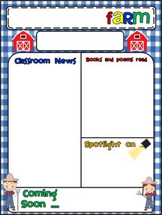 Wish you thought of it earlier? Let's plan ahead! Preschool Class, Preschool Curriculum, Preschool Printables, Class Newsletter, Classroom Newsletter, Preschool Newsletter Templates, Classroom Themes, Classroom Displays, Farm Activities