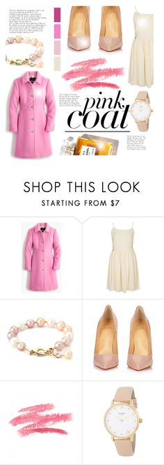 """""""Pretty Pink Coat!"""" by littledesigns ❤ liked on Polyvore featuring J.Crew, Topshop, Seed Design, Christian Louboutin, SkinCare, Kate Spade and fashionset"""