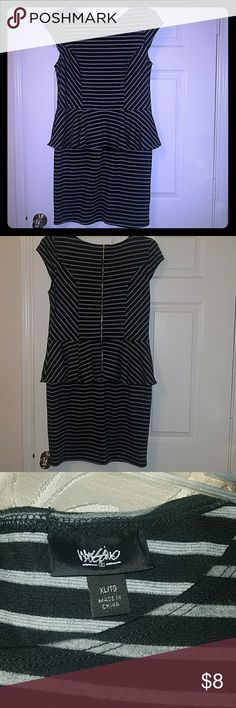 Mossimo Striped Peplum Dress Never worn Xl women's striped Mossimo dress, black with gray stripes, cap sleeves, attached skirt, stretchy material, great condition Mossimo Supply Co. Dresses Midi