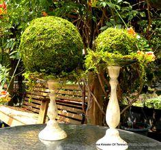 """8"""" Moss Ball- Garden Party decor-Wedding favors-Fairy party-Topiary balls-Kissing Balls. $25.00, via Etsy."""