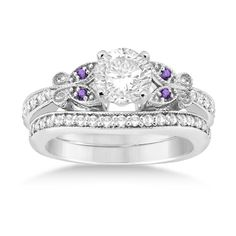 Allurez Butterfly Diamond & Amethyst Bridal Set 14k White Gold (0.42ct) and other apparel, accessories and trends. Browse and shop 5 related looks.