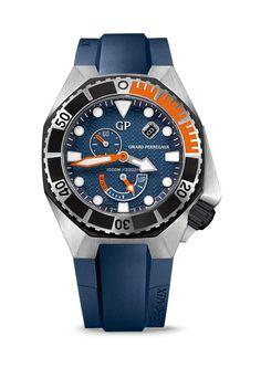 Él Sea Hawk de Girard Perregaux es una pieza de relojería para buceo que ofrece prestaciones vanguardistas. #TiempoPeyrelongue #relojes #model @GirardPerregaux
