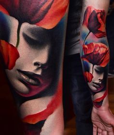 women face and red #flowers #tattoos