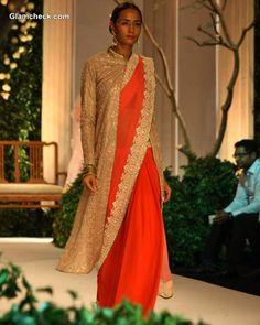 Sarees Teamed With Long Sherwani Jackets - Meera Muzaffar Ali India Bridal Fashion Week 2013