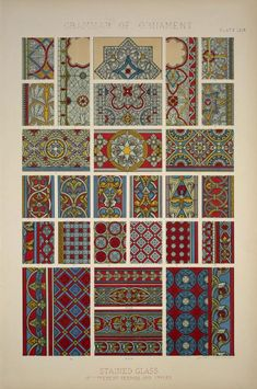 Medieval Ornament no. 4: Stained glass of various periods. (1856)