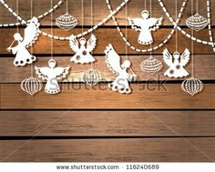 Merry Christmas  card with Angels and decorations in paper cut style, vector by Jane_Lane, via ShutterStock