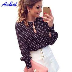 S-XL Women Polka Dot Print Shirts Vintage Chiffon Blouse Tops Long Sleeve Shirt