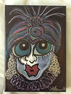 """Painting: 'Fortune Teller' - ink, acrylic, glitter on canvas (5"""" x 7"""") *Free Shipping! by AlabasterandObsidian on Etsy"""