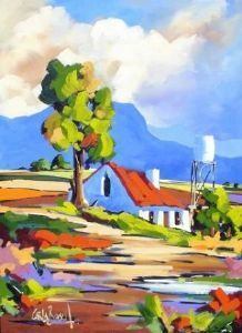 Artwork of Carla Bosch exhibited at Robertson Art Gallery. Original art of more than 60 top South African Artists - Since Abstract Landscape Painting, Landscape Art, Landscape Paintings, South African Art, Cottage Art, Naive Art, Colorful Paintings, Whimsical Art, Art Oil