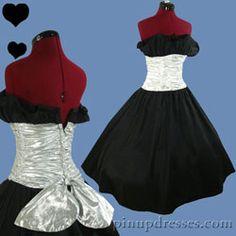 PinupDresses.com Vintage 80s Metallic Full Skirt Prom Party Dress XS S #Vintage #Dress