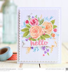 Dawn Woleslagle for Wplus9 featuring the Freehand Florals stamp set and dies.