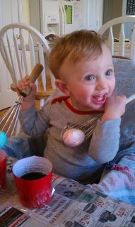 BlissIsHappiness: dyeing Easter eggs with kids. Put each egg in a whisk! Wa-la!