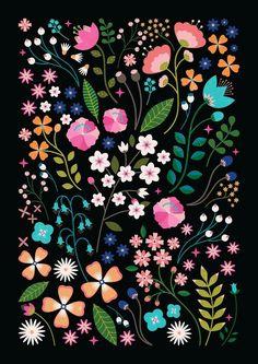 / botanica / carly watts / art and illustration / Folk Art Flowers, Flower Art, Surface Pattern Design, Pattern Art, Floral Illustrations, Illustration Art, Posca Art, Scandinavian Folk Art, Arte Floral