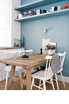 my scandinavian home: The perfect blend of modern and traditional in a Paris home Paris Home, Kitchen Interior, New Kitchen, Kitchen Nook, Kitchen Grey, Kitchen Colors, Blue Walls Kitchen, Kitchen Ideas, Kitchen Design