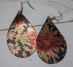 Copper/navy daisy print leather teardrop earrings — It Must Be a Sign