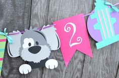 Perro Banner fiesta cumpleaños fiesta de cumpleaños de Puppy