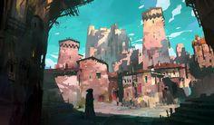 Old Town, Ivan Laliashvili on ArtStation at https://www.artstation.com/artwork/vyOvD
