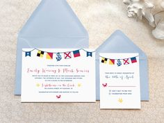 Custom, nautical Wedding Invitation set featuring maritime signal flags that spell out the word 'LOVE', accompanied by various nautical and beachy symbols. -  Merrymint Designs