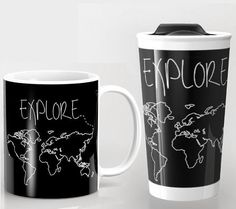 Explore World Map Mug & Travel Mug  Ceramic and Metal by ForgetSundayDrives on Etsy. Adventure. Adventurer. Wander. Wanderlust. Travel. Traveler. Jetsetter. Vagabond. USA. Earth. Gifts for her. Gifts for him. Decor. Arrows. Black and White. Europe. Australia. Canada. North America. South America. Asia. Italy. Black and White. Map. World Map. Map Outline. Home Decor. Stocking Stuffer. Mug. Mugs. Coffee. Tea. Black and White.