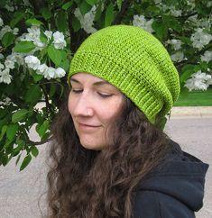 L. O. V. E. Slouchy. Hip. Great look for women or men. Everyday People pattern by Brenda K. B. Anderson. Free crochet hat pattern.