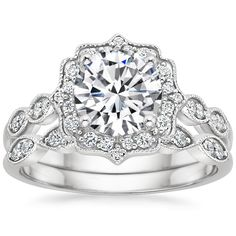 THIS IS THE RING!!! BABE IF YOU'RE LOOKING AT THIS, THIS IS MY DREAM RING!!!!!! Platinum Cadenza Halo Diamond Matched Set (1/3 ct. tw.) from Brilliant Earth