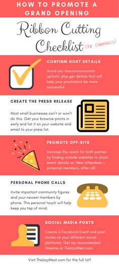 Ribbon Cutting Checklist - How to Promote a Grand Opening Business Launch, Opening A Business, Business Goals, Business Ideas, Event Checklist, Salon Party, Grand Opening Party, Open House, Blog