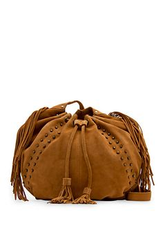 TOUCH - Suede fringed bucket bag