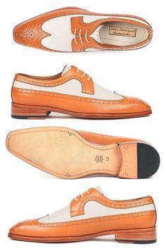 Paul Parkman Dual Tone Wingtip Derby Shoes Cognac & Cream (ID Sock Shoes, Men's Shoes, Shoe Boots, Brogues, Loafers, Fashion Boots, Mens Fashion, Braut Make-up, Derby Shoes