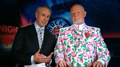 My favorite hockey announcer and fashion statement, Don Cherry. Ron MacLean's expression is priceless. Hockey Night in Canada. Milk In A Bag, Only Fashion, Fashion Show, Don Cherry, Canadian Things, Gay Outfit, Cool Style, My Style, Weird And Wonderful