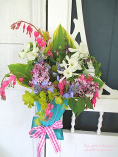 DIY Project ~ Gather Flowers for a May Day or Mother's Day Basket!  (Hosta leaves, Bleeding Heart, Narcissus, Lilac, Columbine, Bluebells and Creeping Jenny)