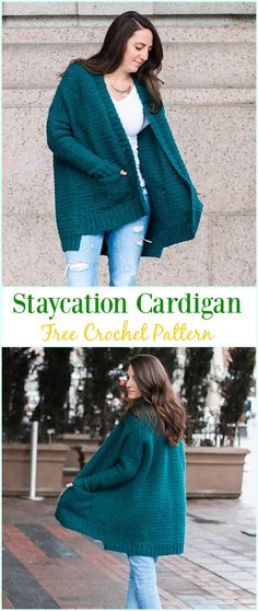 Crochet Staycation Cardigan Free Pattern - #Crochet; Women Sweater Coat & #Cardigan; Free Patterns