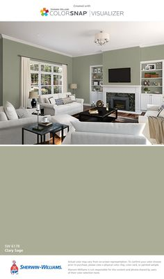 I found this color with ColorSnap® Visualizer for iPhone by Sherwin-Williams: Clary Sage (SW 6178).