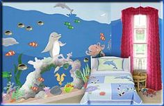 """Underwater Ocean Room Ideas for Kids. Large vinyl undersea mural to decorate your childs bedroom or playroom walls. Magical Under Sea Adventures Mural"""" Border is a brightly colored coral reef ocean fl Nautical Theme Bedrooms, Bedroom Themes, Nursery Themes, Nursery Ideas, Bedroom Decor, Room Ideas, Bed For Girls Room, Kids Room, Ocean Bedding"""