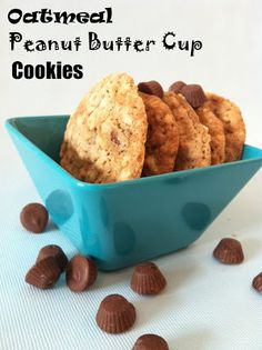 Oatmeal Peanut Butter Cup Cookies from @whatchamakinnow - chewy and filled with chocolate and peanut butter