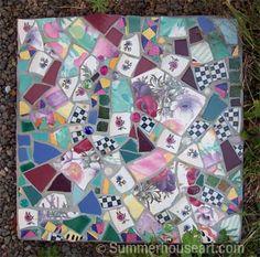purplewchecks-wm Mosaic Stepping Stones in the Garden