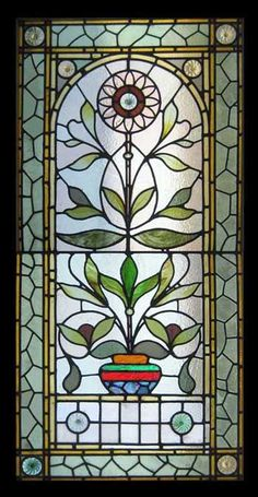 VICTORIAN SUNFLOWER STAINED GLASS WINDOW