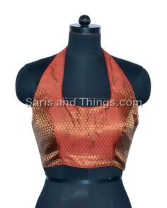 Maroon Halter Neck Brocade Party Wear Readymade Sari Blouse 81 HT | Saris and Things