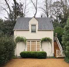 81 likes, 3 comments - southern trouvaille ( on instag Garage House, Carriage House Garage, Dream Garage, Cozy Cottage, Cottage Style, Cottage House, Garage Apartments, Fresco, Building A Shed