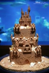 Disney Beach Wedding Cake -- perfect for vow renewals. Our certified wedding destination specialists can help www.voltvacations.com starting at just $795 for Caribbean island renewals