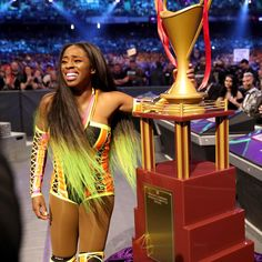 Naomi Became first ever WrestleMania Woman Battle Royal Winner Black Wrestlers, Female Wrestlers, Wwe Wrestlers, Wwe Superestrellas, Naomi Wwe, Queen Of The Ring, Wwe Couples, Wwe Wallpaper, Wwe Girls