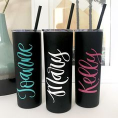 Skinny Tumbler- Stainless Steel Tumbler Personalized - Tumbler with Straw and Lid - Teacher Gift Per Coffee Tumbler, Tumbler Cups, Engagement Gifts For Bride, Tumbler With Straw, Great Teacher Gifts, Personalized Tumblers, Stainless Steel Water Bottle, Bridesmaid Gifts, Bridesmaid Proposal