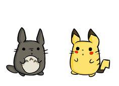Totoro, meet Pikachu. Pikachu-Totoro. :D @Pipenbring en søster tatoo