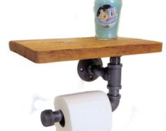 Reclaimed toilet paper holder with shelf