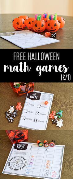 FREE Halloween math games for grades K-1!