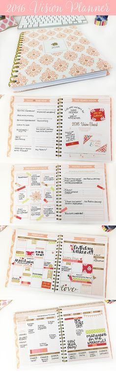 bloom's brand new 2016 Vision Planner is designed to help you achieve all of your goals and visions for Features include a yearly vision board, monthly goal planning with action steps, vertical weekly planning pages and more! Planning School, Goal Planning, Life Planner, Happy Planner, Bloom Planner, Bujo, Printable Planner, Printables, Free Printable